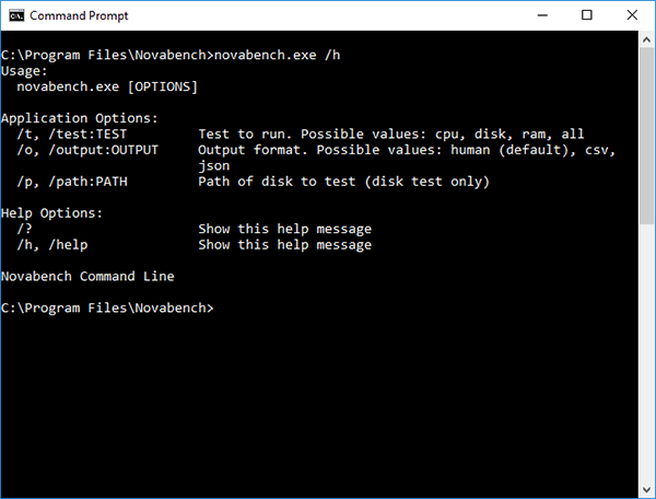 Screenshot of Novabench CLI