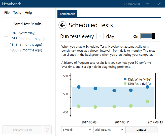 Screenshot of scheduled test tool